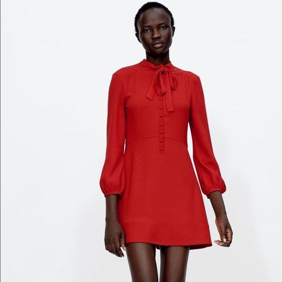 360fd368 Zara Dresses | Mini Dress With Bow | Poshmark